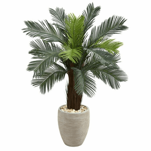 4.5' Cycas Artificial Tree in Oval Planter UV Resistant (Indoor/Outdoor)