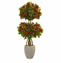 4.5� Double Bougainvillea Topiary Artificial Tree in Oval Planter