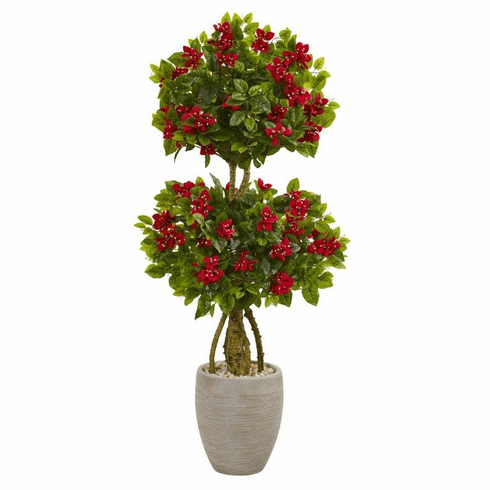 4.5' Double Bougainvillea Topiary Artificial Tree in Oval Planter