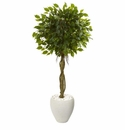 4.5� Ficus Artificial Tree in White Oval Planter UV Resistant (Indoor/Outdoor)
