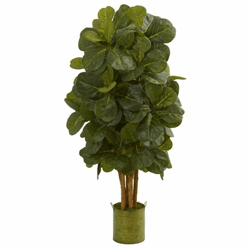 4.5' Fiddle Leaf Artificial Tree in Green Tin Planter