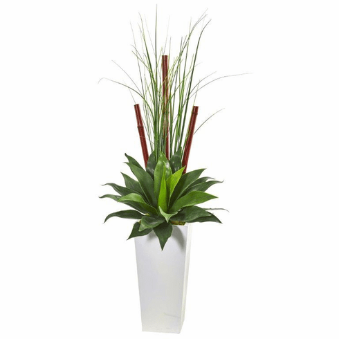 4.5' Giant Agave Succulent Artificial Plant in White Planter