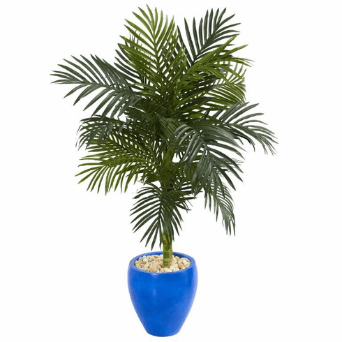 4.5' Golden Cane Artificial Palm Tree in Blue Oval Planter -