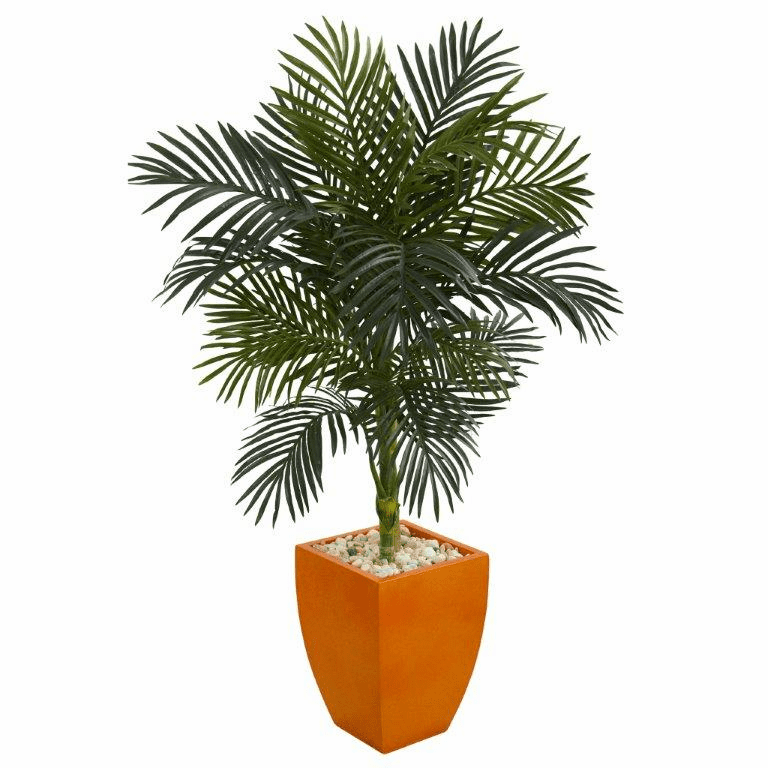 4.5� Golden Cane Palm Artificial Tree in Orange Planter