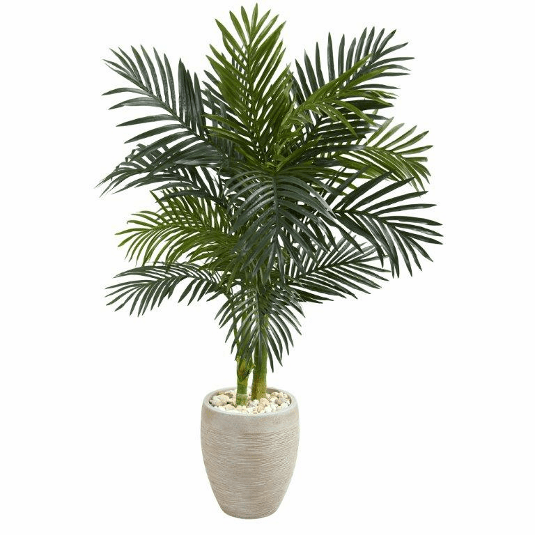 4.5� Golden Cane Palm Artificial Tree in Oval Planter