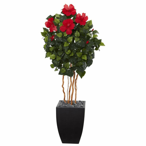 4.5' Hibiscus Artificial Tree in Black Washed Planter