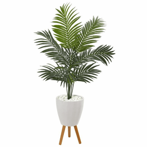 4.5' Kentia Artificial Palm Tree in White Planter with Legs -