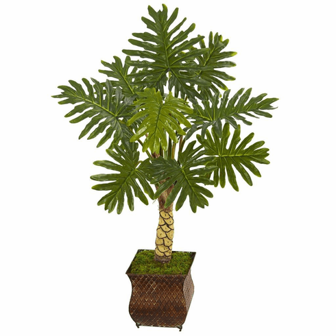 4.5' Monstera Artificial Tree in Metal Planter