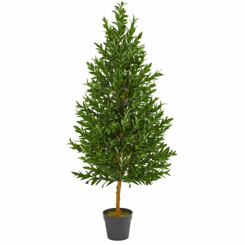 4.5' Olive Cone Topiary Artificial Tree UV Resistant (Indoor/Outdoor)