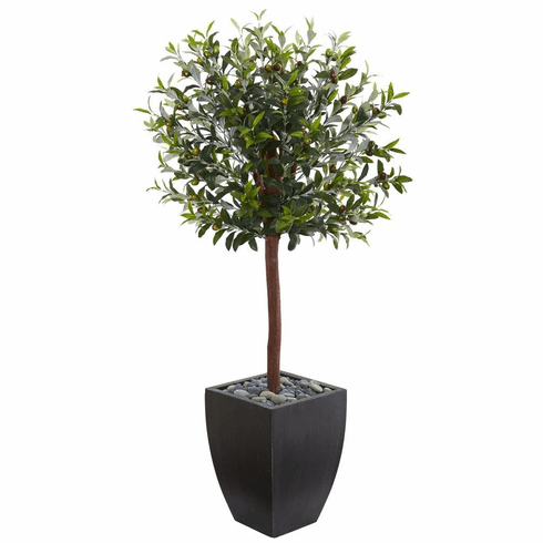 4.5' Olive Topiary Artificial Tree in Black Washed Planter