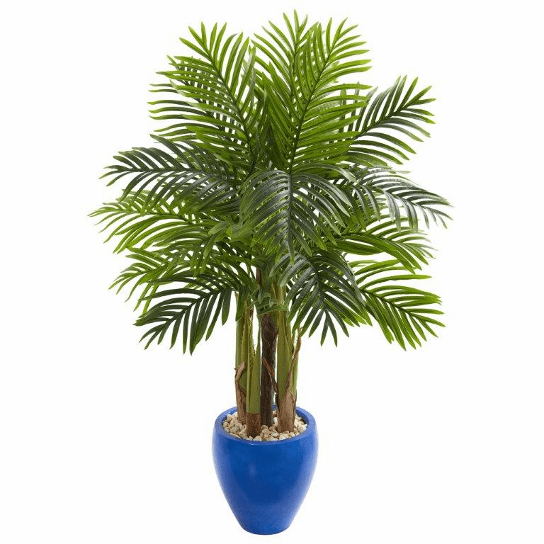 4.5' Palm Artificial Tree in Blue Planter