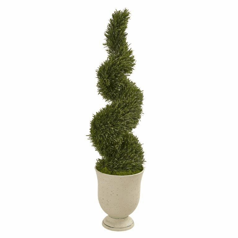 4.5� Rosemary Spiral Topiary Artificial Tree in Urn (Indoor/Outdoor) -