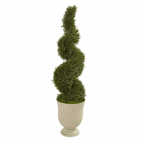4.5' Rosemary Spiral Topiary Artificial Tree in Urn (Indoor/Outdoor) -