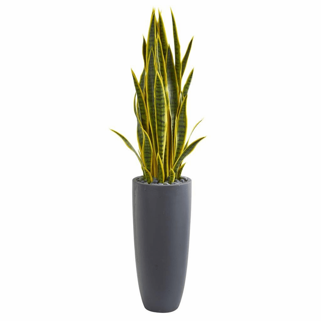 4.5� Sansevieria Artificial Plant in Gray Planter