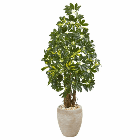 4.5' Schefflera Artificial Tree in Sand Colored Planter