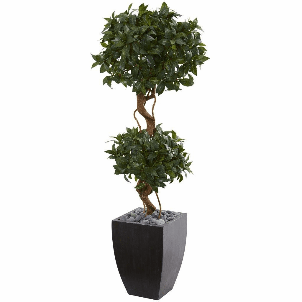 4.5' Sweet Bay Artificial Double Topiary Tree in Black Wash Planter