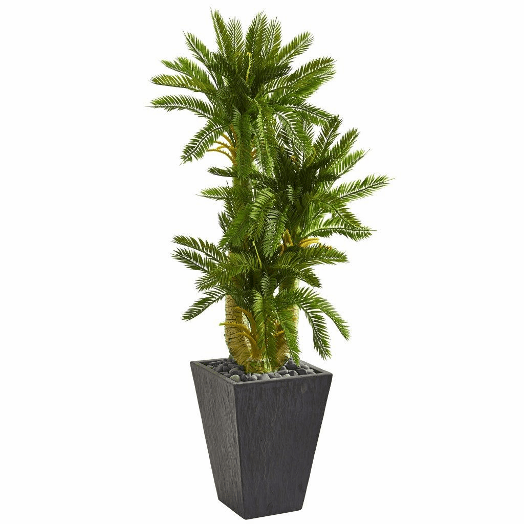 4.5� Triple Cycas Artificial Plant in Slate Planter