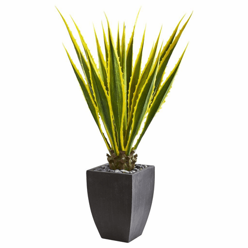 4' Agave Artificial Plant in Black Planter