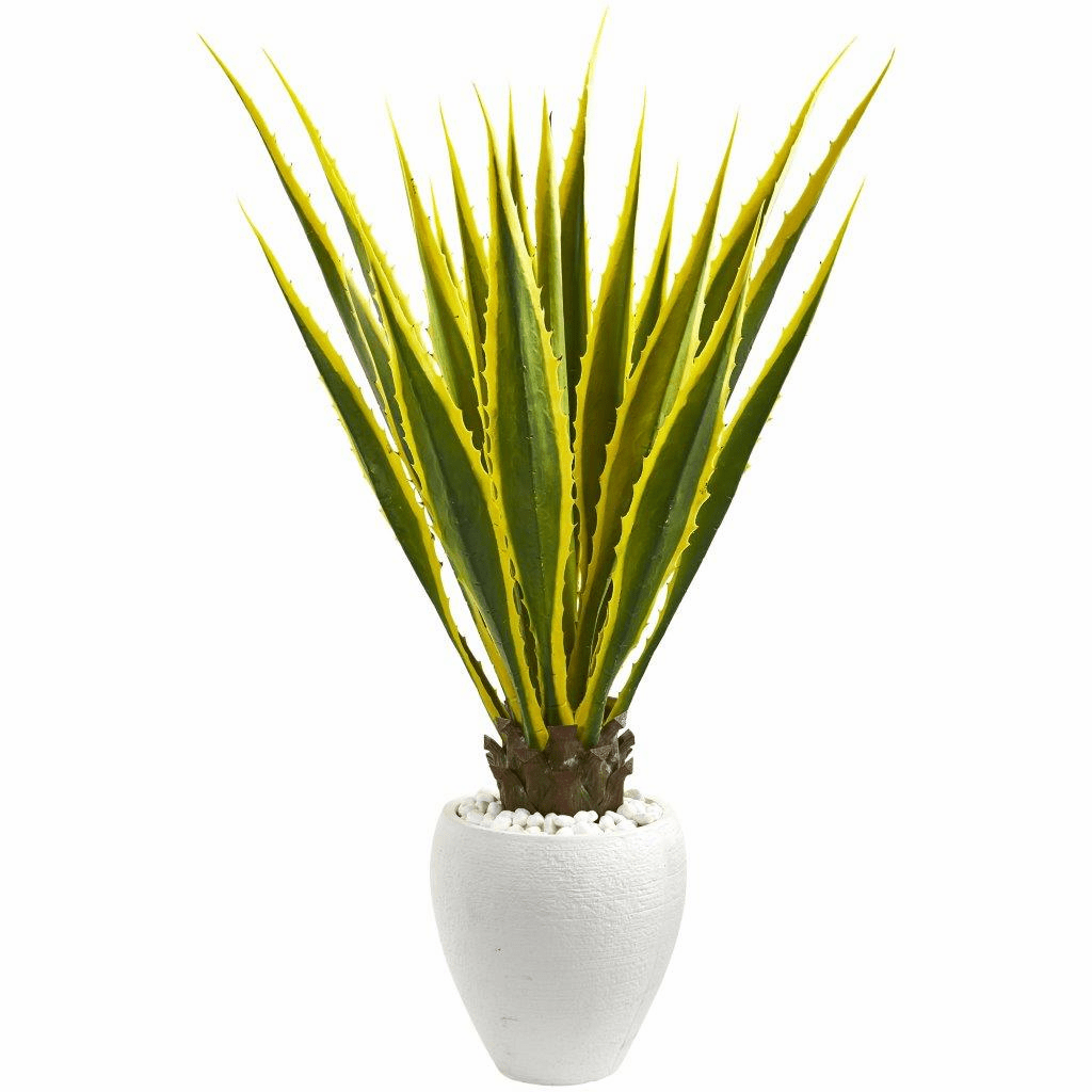 4� Agave Artificial Plant in White Planter