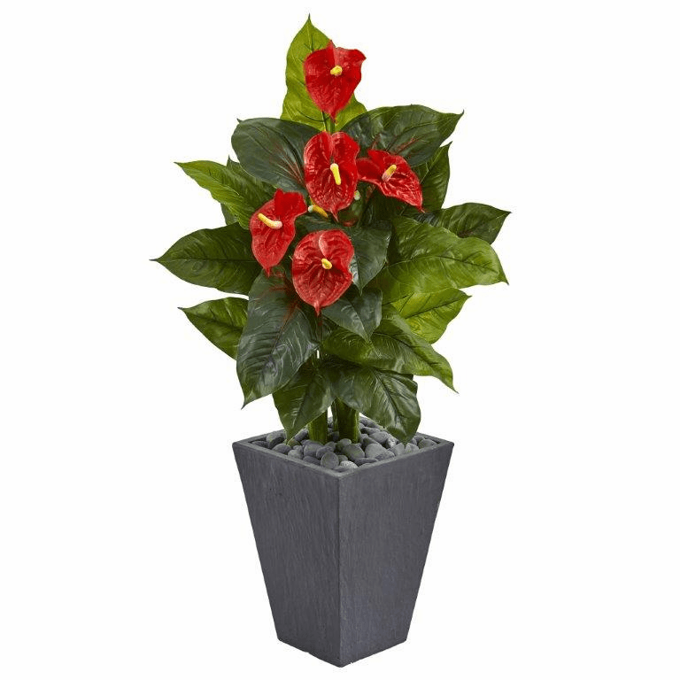4� Anthurium Artificial Plant in Slate Planter (Real Touch)