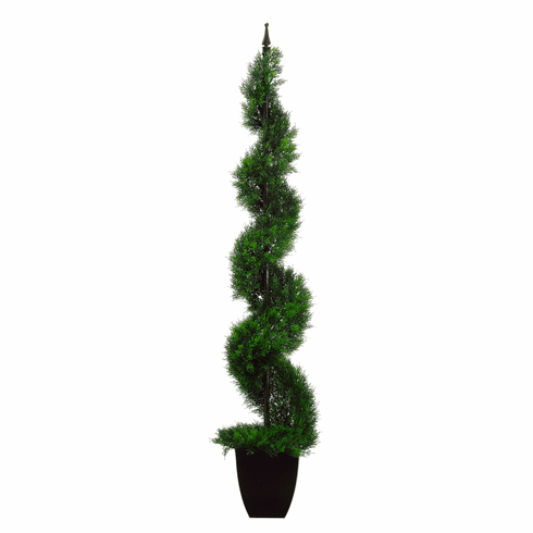 4' Artificial Plastic Spiral Cedar with Iron in Black Designer Plastic Pot