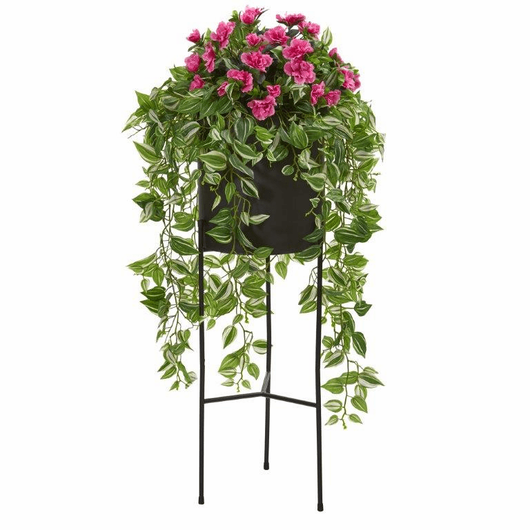 4� Azalea and Wandering Jew Artificial Plant in Stand Black Planter