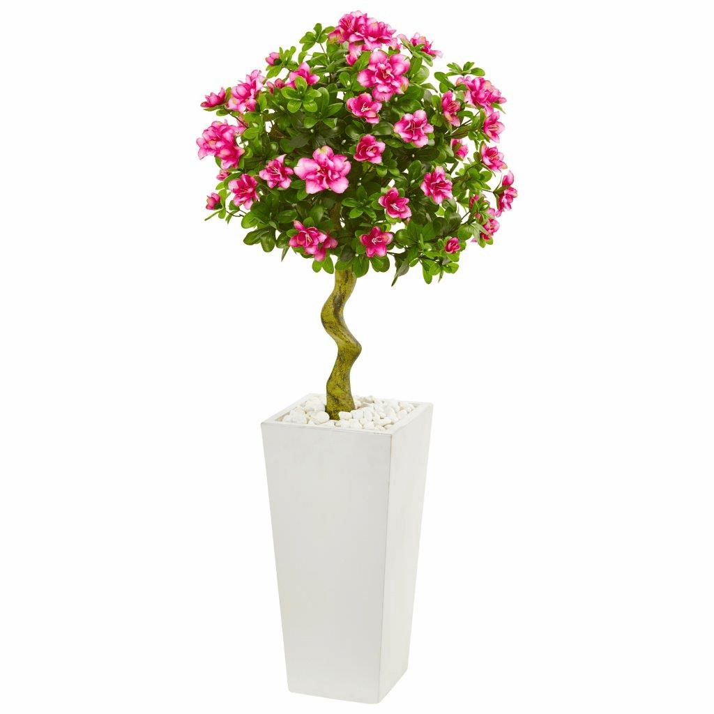 4� Azalea Artificial Topiary Tree in White Tower Planter