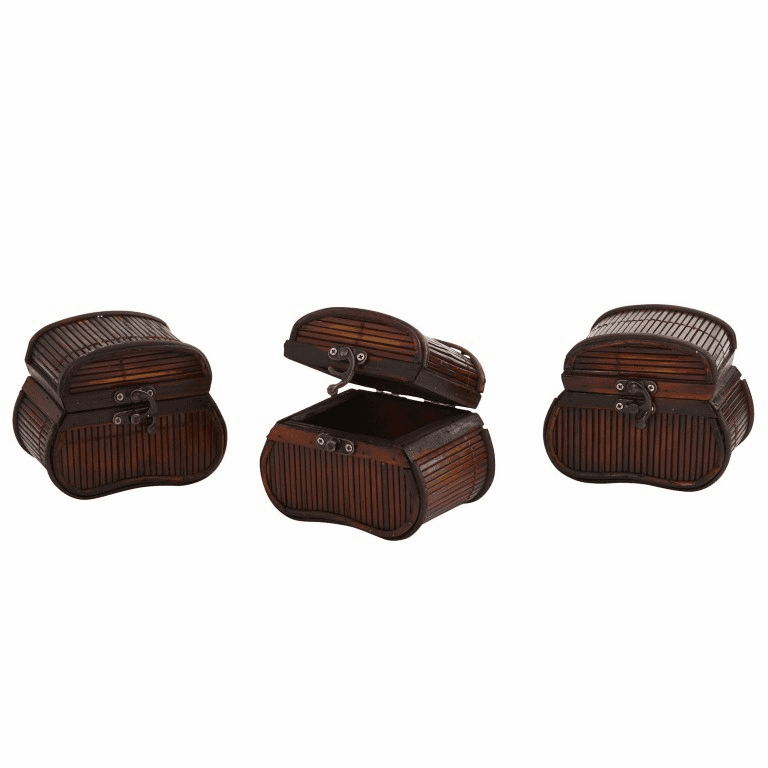 "4"" Bamboo Chest Planters - Set of 3"