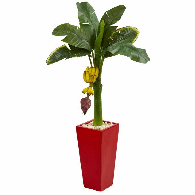 4� Banana Artificial Tree in Red Tower Planter