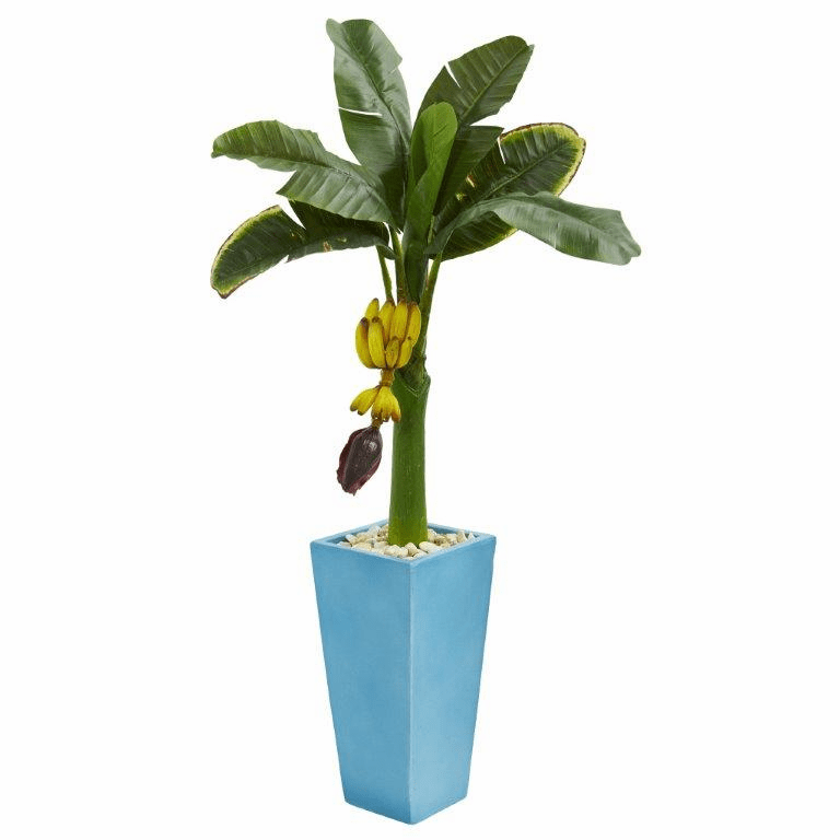 4� Banana Artificial Tree in Turquoise Tower Vase