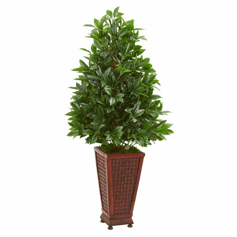 4' Bay Leaf Artificial Topiary Tree in Decorative Planter