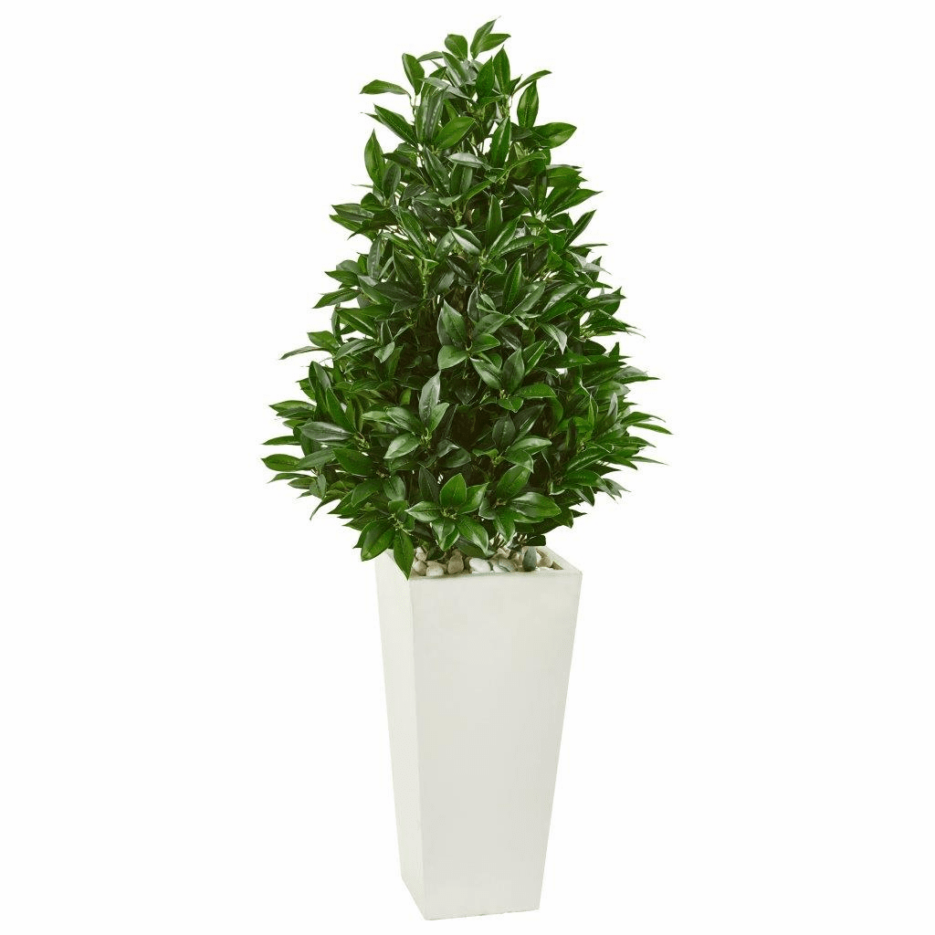 4� Bay Leaf Cone Topiary Artificial Tree in White Tower Planter UV Resistant (Indoor/Outdoor)