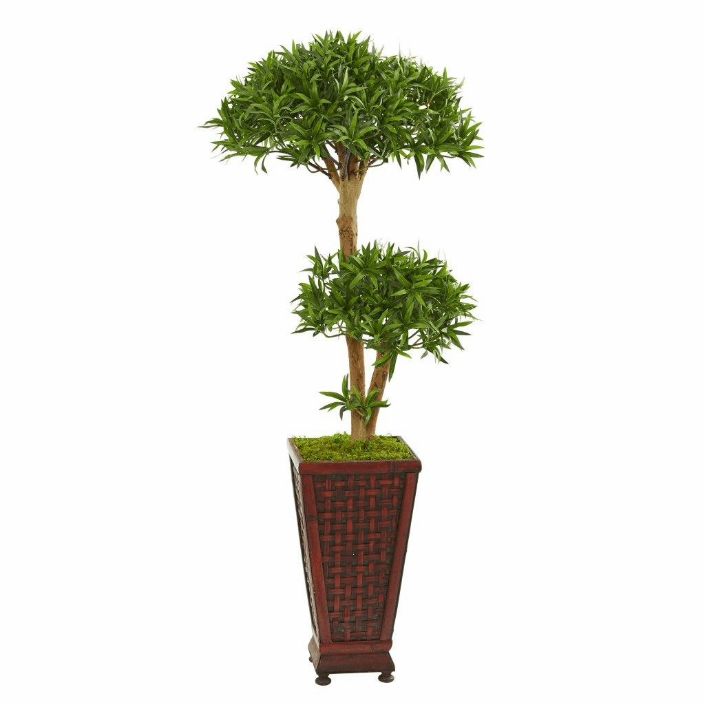 4� Bonsai Styled Podocarpus Artificial Tree in Decorative Planter