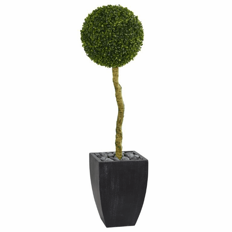 4� Boxwood Ball Topiary Artificial Tree in Black Wash Planter UV Resistant (Indoor/Outdoor)