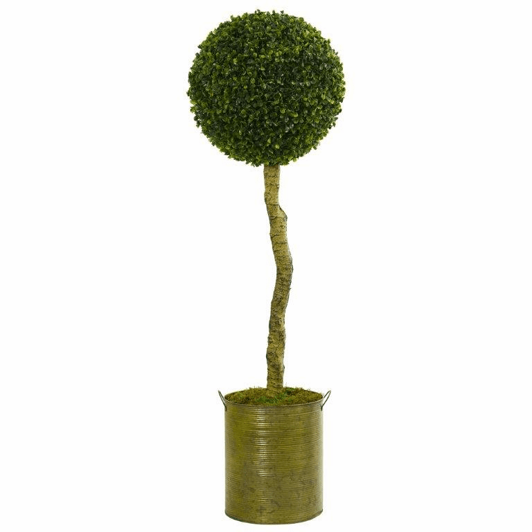 4� Boxwood Ball Topiary Artificial Tree in Green Tin Planter UV Resistant (Indoor/Outdoor)