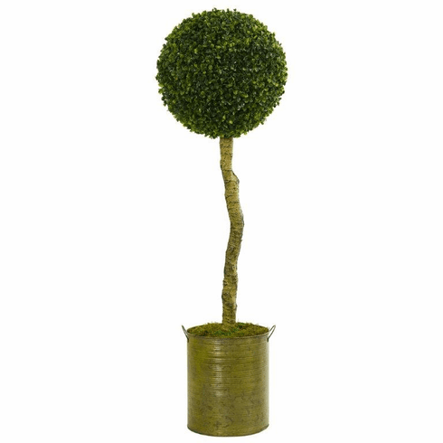 4' Boxwood Ball Topiary Artificial Tree in Green Tin Planter UV Resistant (Indoor/Outdoor)