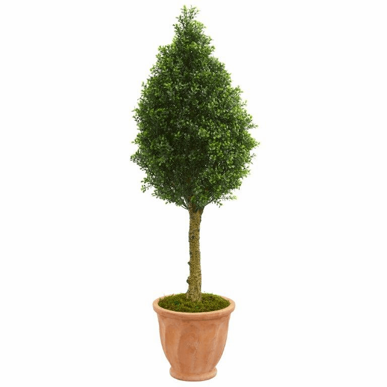 4� Boxwood Cone Artificial Tree in Terracotta Planter UV Resistant (Indoor/Outdoor)