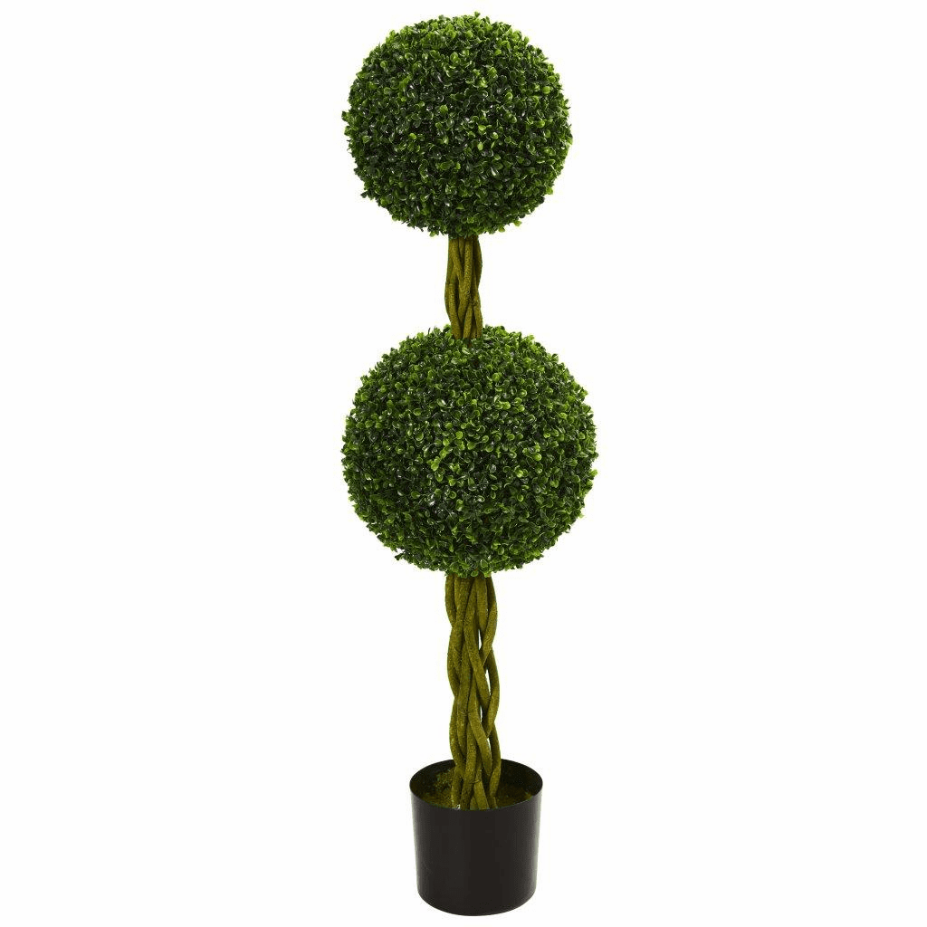 4� Boxwood Double Ball Artificial Topiary Tree with Woven Trunk UV Resistant (Indoor/Outdoor)