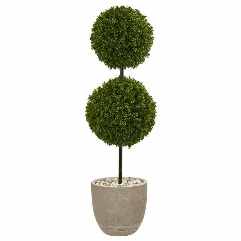4� Boxwood Double Ball Topiary Artificial Tree in Oval Planter UV Resistant (Indoor/Outdoor)