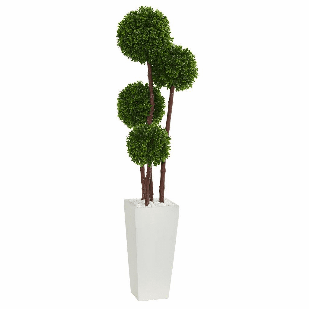 4� Boxwood Topiary Artificial Tree in Planter UV Resistant (Indoor/Outdoor)