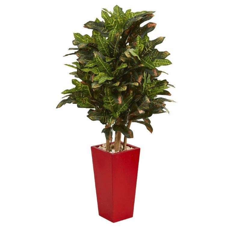 4� Croton Artificial Plant in Red Planter