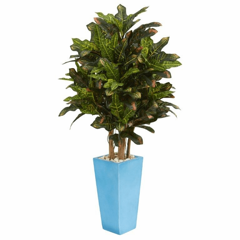 4� Croton Artificial Plant in Turquoise Planter