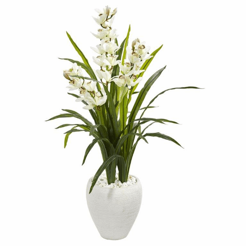 4' Cymbidium Orchid Artificial Plant in White Planter