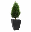 4� Cypress Cone Artificial Topiary Tree in Black Wash Planter UV Resistant (Indoor/Outdoor)