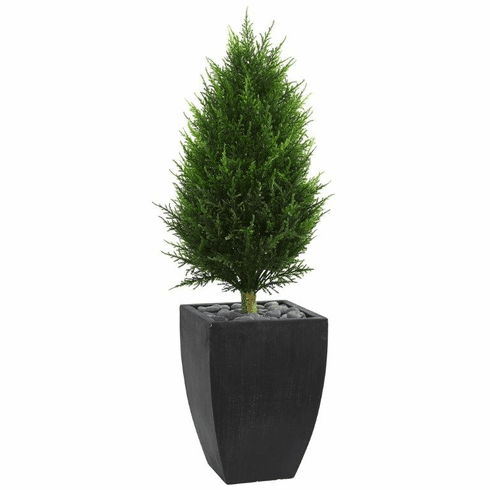 4' Cypress Cone Artificial Topiary Tree in Black Wash Planter UV Resistant (Indoor/Outdoor)