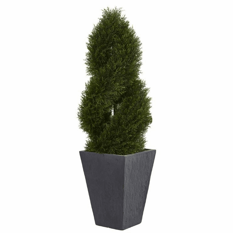 4� Cypress Double Spiral Topiary Artificial Tree in Slate Planter UV Resistant (Indoor/Outdoor)