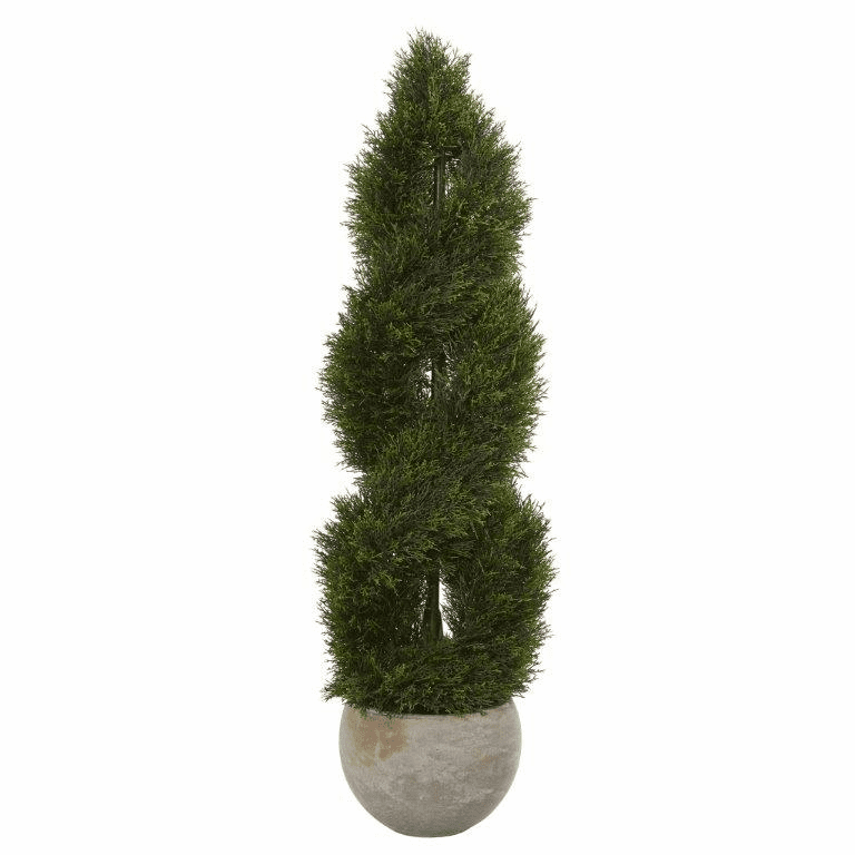 4� Double Pond Cypress Spiral Artificial Tree in Sand Colored Planter UV Resistant (Indoor/Outdoor)