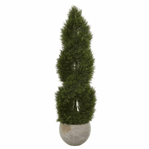 4' Double Pond Cypress Spiral Artificial Tree in Sand Colored Planter UV Resistant (Indoor/Outdoor)