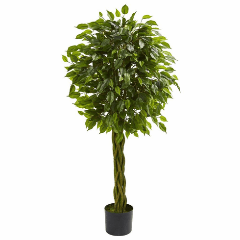 4' Ficus Artificial Tree with Woven Trunk UV Resistant (Indoor/Outdoor)