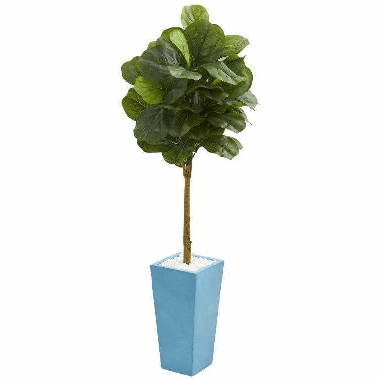 4� Fiddle Leaf Artificial Tree in Turquoise Planter (Real Touch)